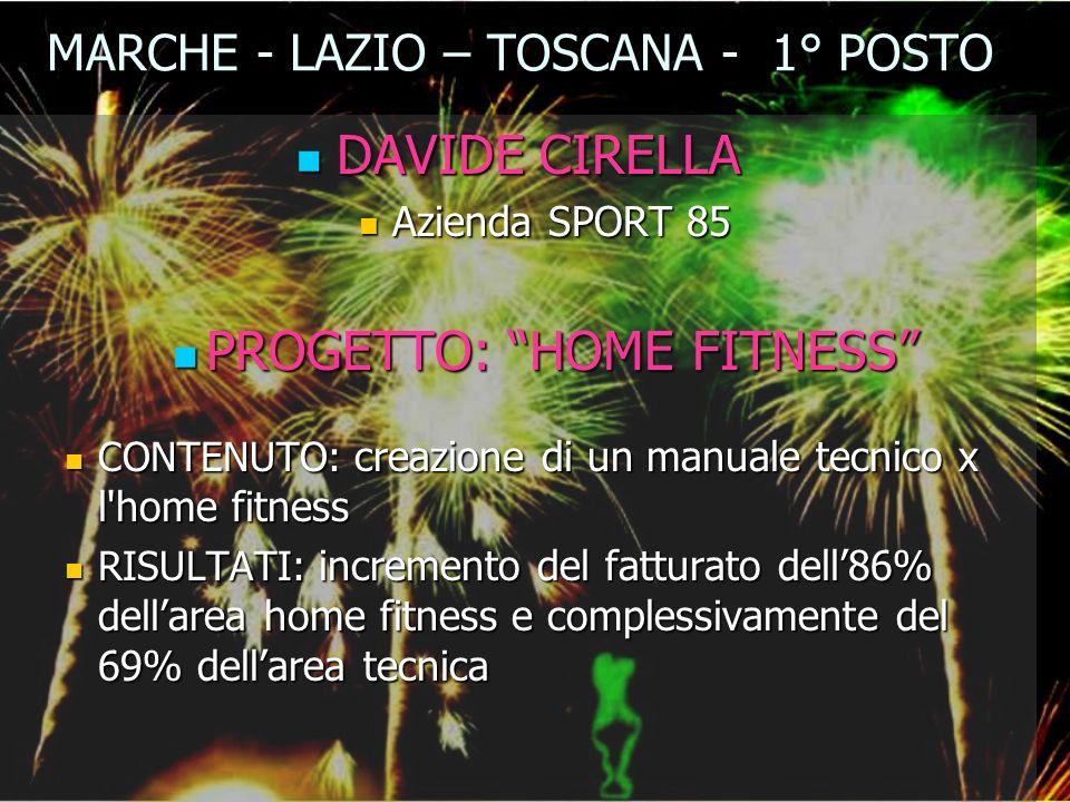 MARCHE - LAZIO – TOSCANA - 1° POSTO DAVIDE CIRELLA DAVIDE CIRELLA Azienda SPORT 85 Azienda SPORT 85 PROGETTO: HOME FITNESS PROGETTO: HOME FITNESS CONT