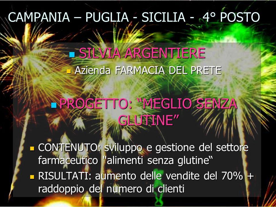 CAMPANIA – PUGLIA - SICILIA - 4° POSTO SILVIA ARGENTIERE SILVIA ARGENTIERE Azienda FARMACIA DEL PRETE Azienda FARMACIA DEL PRETE PROGETTO: MEGLIO SENZ