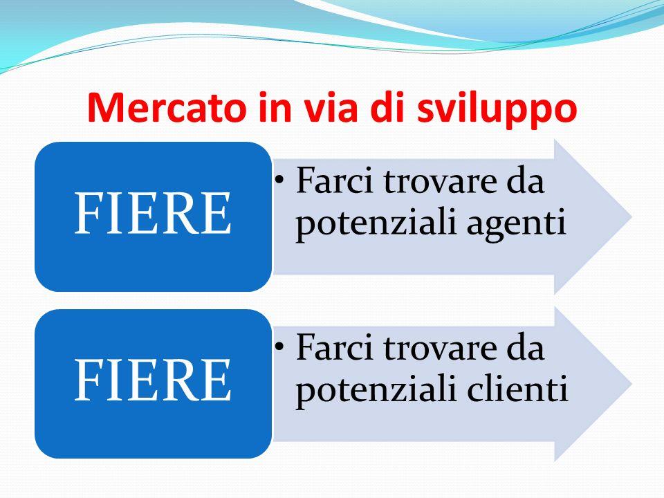 Mercato in via di sviluppo Farci trovare da potenziali agenti FIERE Farci trovare da potenziali clienti FIERE