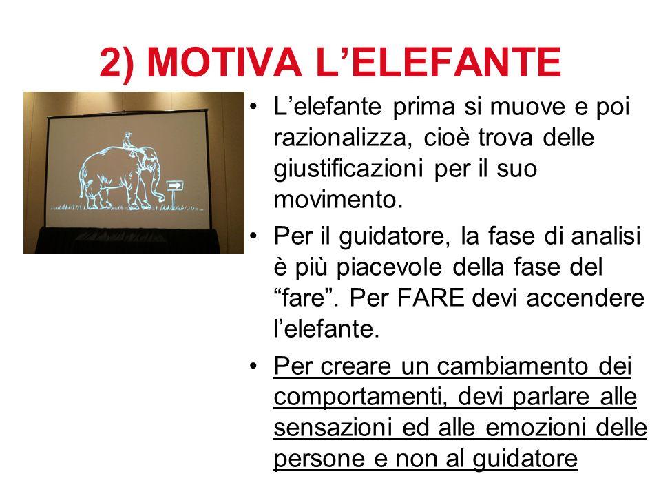 2) MOTIVA LELEFANTE Lelefante prima si muove e poi razionalizza, cioè trova delle giustificazioni per il suo movimento. Per il guidatore, la fase di a