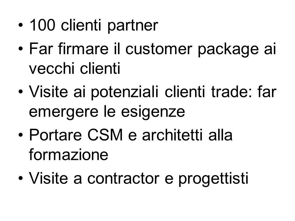100 clienti partner Far firmare il customer package ai vecchi clienti Visite ai potenziali clienti trade: far emergere le esigenze Portare CSM e architetti alla formazione Visite a contractor e progettisti