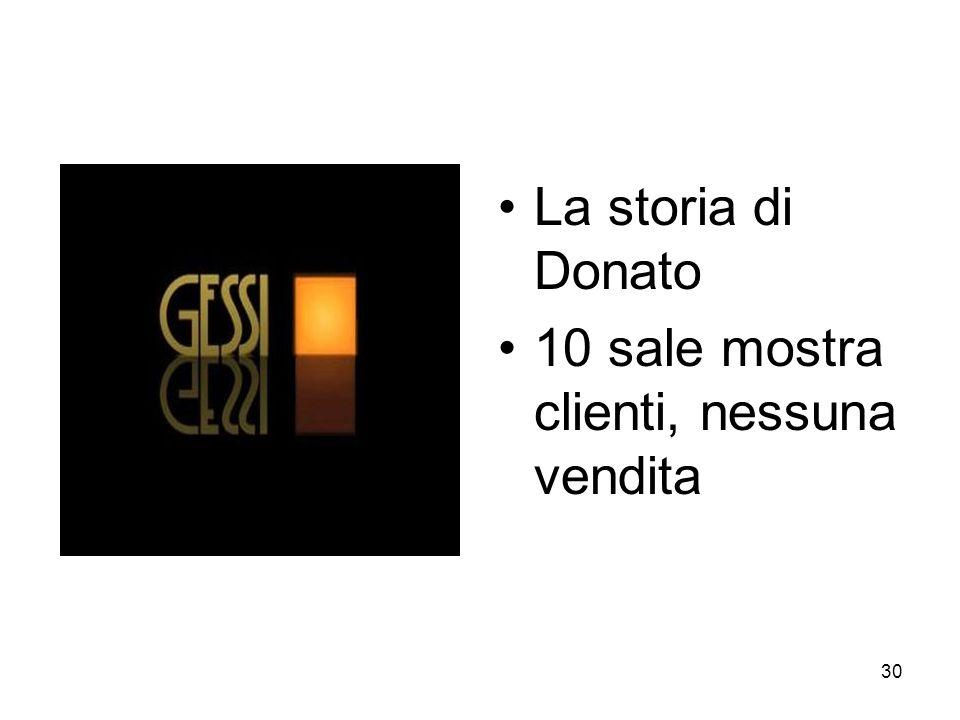 30 La storia di Donato 10 sale mostra clienti, nessuna vendita