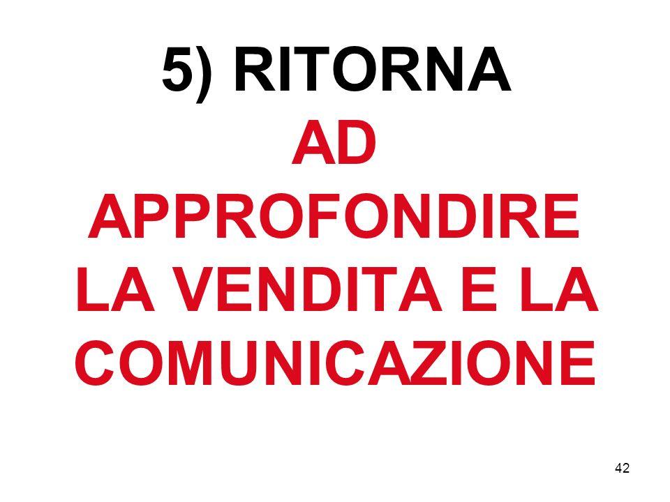 42 5) RITORNA AD APPROFONDIRE LA VENDITA E LA COMUNICAZIONE
