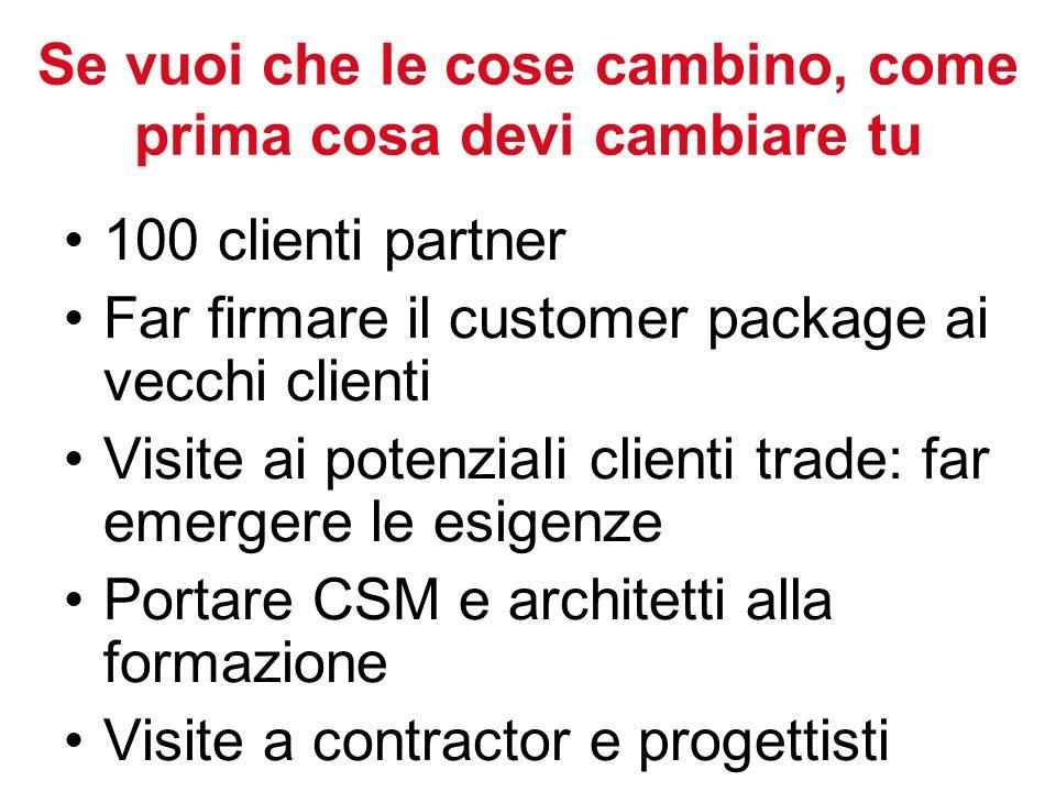 Se vuoi che le cose cambino, come prima cosa devi cambiare tu 100 clienti partner Far firmare il customer package ai vecchi clienti Visite ai potenziali clienti trade: far emergere le esigenze Portare CSM e architetti alla formazione Visite a contractor e progettisti