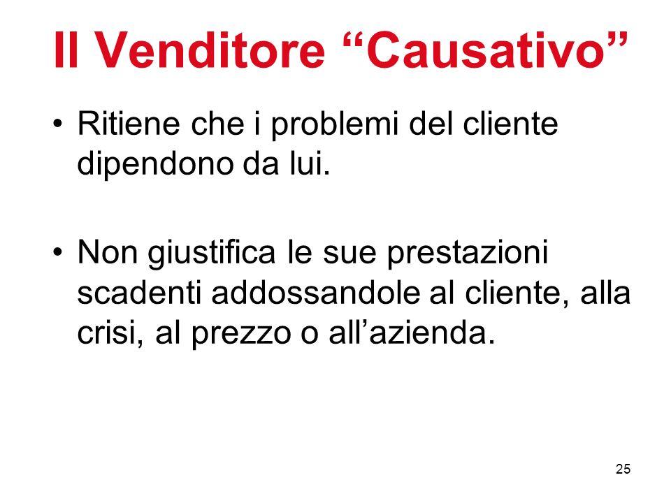 25 Il Venditore Causativo Ritiene che i problemi del cliente dipendono da lui. Non giustifica le sue prestazioni scadenti addossandole al cliente, all
