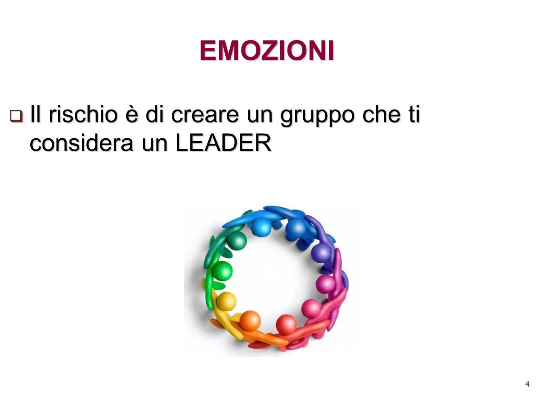 4 EMOZIONI Il rischio è di creare un gruppo che ti considera un LEADER Il rischio è di creare un gruppo che ti considera un LEADER
