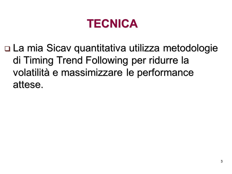 3 TECNICA La mia Sicav quantitativa utilizza metodologie di Timing Trend Following per ridurre la volatilità e massimizzare le performance attese. La
