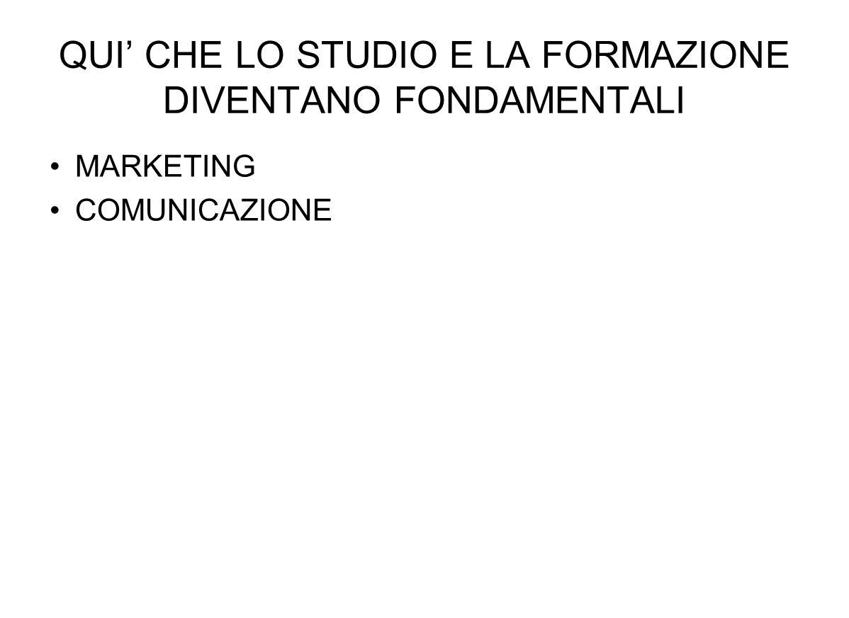 QUI CHE LO STUDIO E LA FORMAZIONE DIVENTANO FONDAMENTALI MARKETING COMUNICAZIONE
