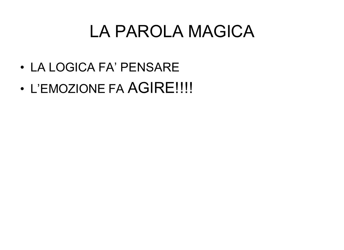 LA PAROLA MAGICA LA LOGICA FA PENSARE LEMOZIONE FA AGIRE!!!!
