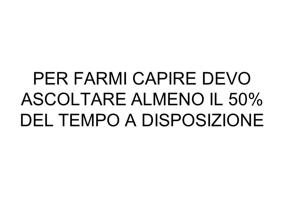 PER FARMI CAPIRE DEVO ASCOLTARE ALMENO IL 50% DEL TEMPO A DISPOSIZIONE