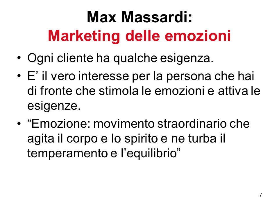 7 Max Massardi: Marketing delle emozioni Ogni cliente ha qualche esigenza. E il vero interesse per la persona che hai di fronte che stimola le emozion