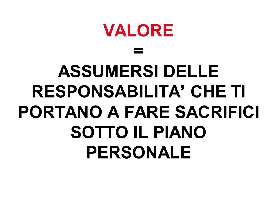 VALORE = ASSUMERSI DELLE RESPONSABILITA CHE TI PORTANO A FARE SACRIFICI SOTTO IL PIANO PERSONALE