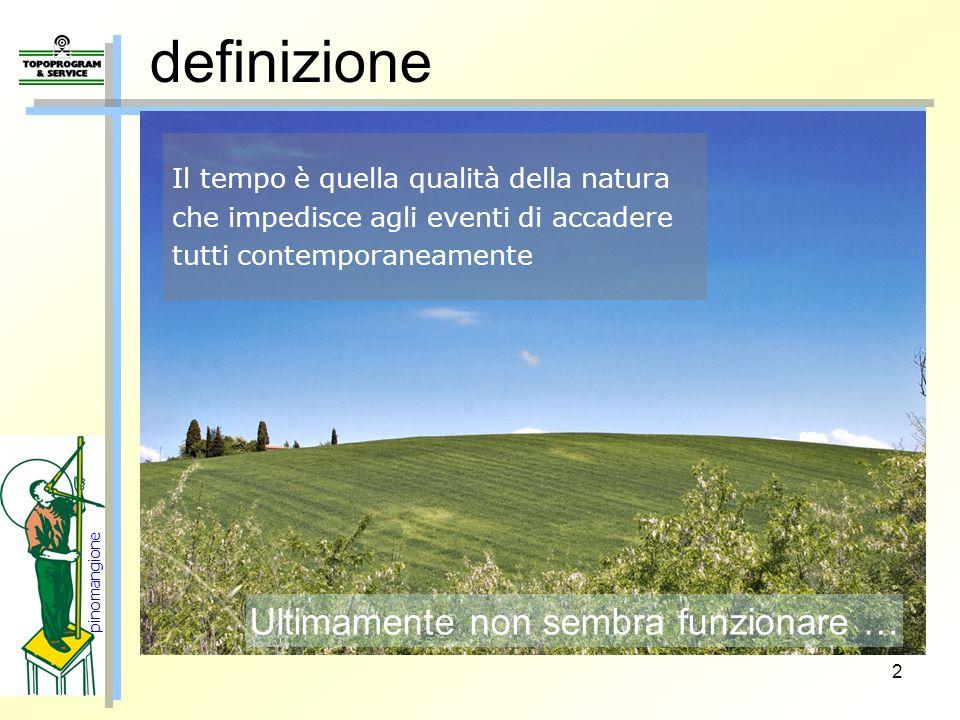 2 definizione pinomangione Il tempo è quella qualità della natura che impedisce agli eventi di accadere tutti contemporaneamente Ultimamente non sembr