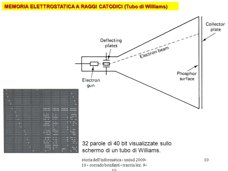 storia dell'informatica - uniud 2009- 10 - corrado bonfanti - traccia lez. 9- 10 10 32 parole di 40 bit visualizzate sullo schermo di un tubo di Willi
