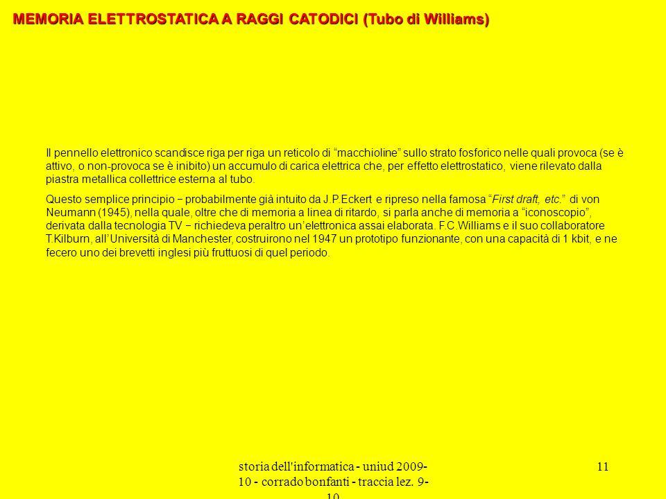 storia dell'informatica - uniud 2009- 10 - corrado bonfanti - traccia lez. 9- 10 11 Il pennello elettronico scandisce riga per riga un reticolo di mac