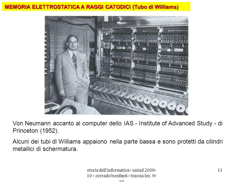 storia dell'informatica - uniud 2009- 10 - corrado bonfanti - traccia lez. 9- 10 13 Von Neumann accanto al computer dello IAS - Institute of Advanced