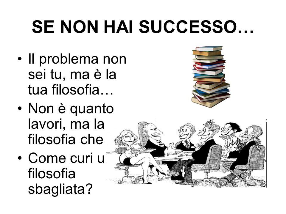 SE NON HAI SUCCESSO… Il problema non sei tu, ma è la tua filosofia… Non è quanto lavori, ma la filosofia che usi.
