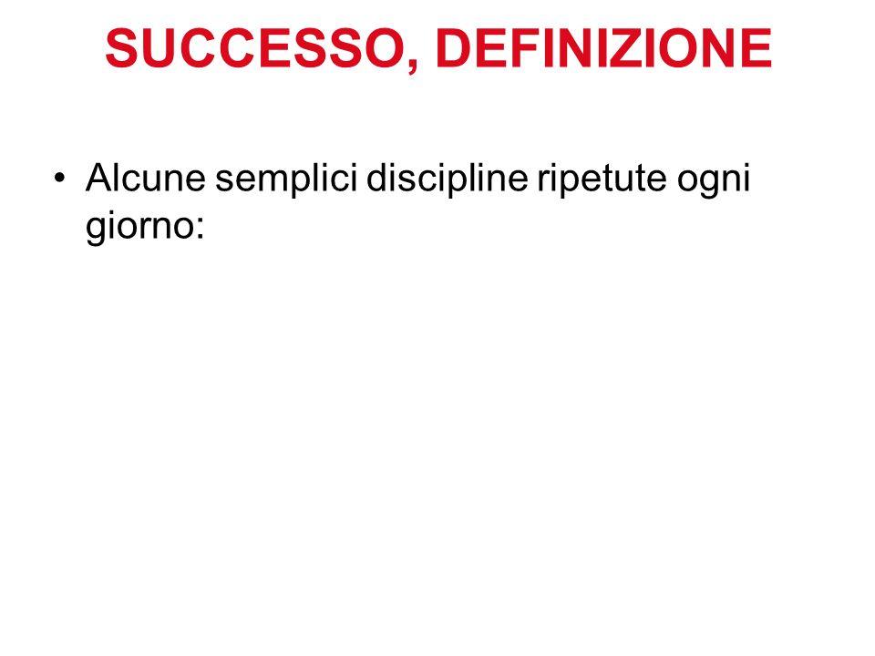 SUCCESSO, DEFINIZIONE Alcune semplici discipline ripetute ogni giorno: