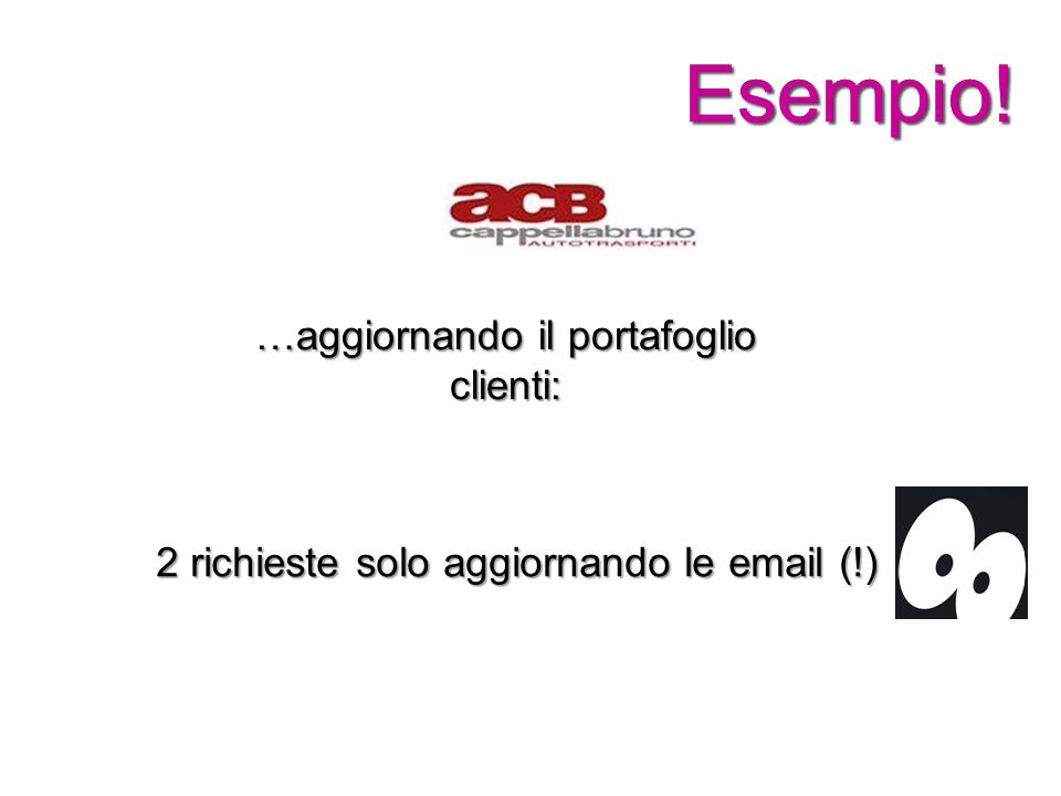 Esempio!Esempio! …aggiornando il portafoglio clienti: 2 richieste solo aggiornando le email (!)