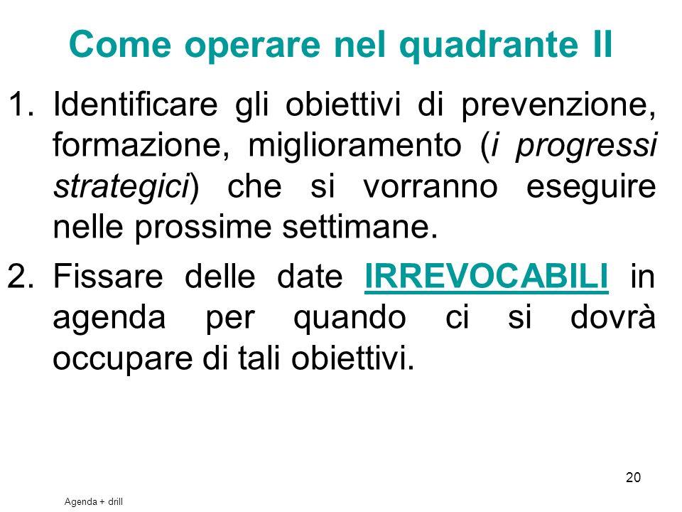20 Come operare nel quadrante II 1.Identificare gli obiettivi di prevenzione, formazione, miglioramento (i progressi strategici) che si vorranno esegu