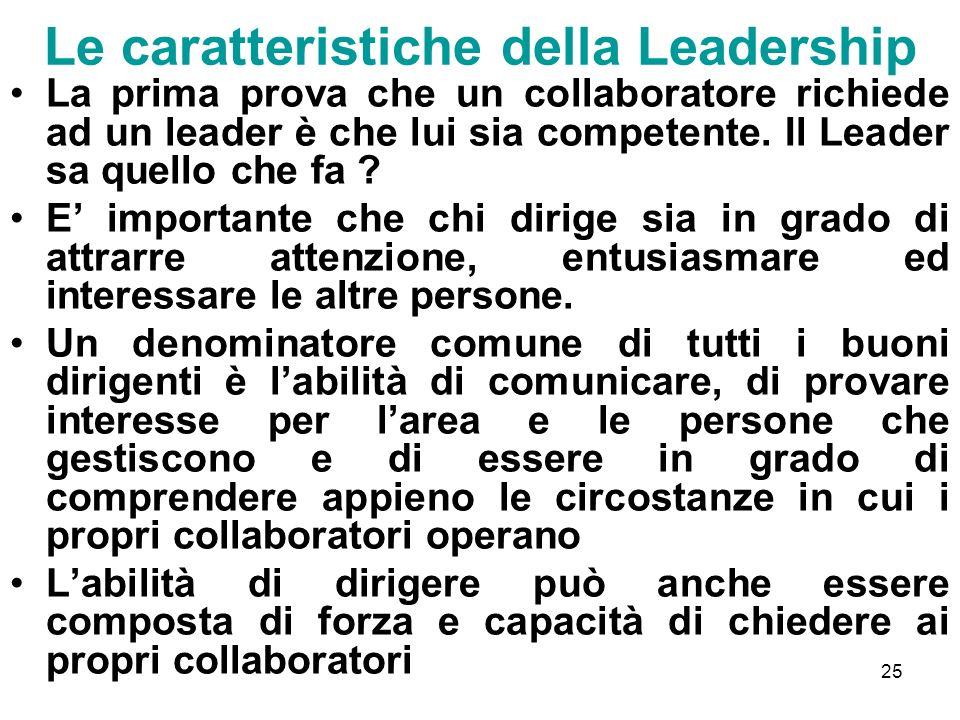 25 Le caratteristiche della Leadership La prima prova che un collaboratore richiede ad un leader è che lui sia competente. Il Leader sa quello che fa