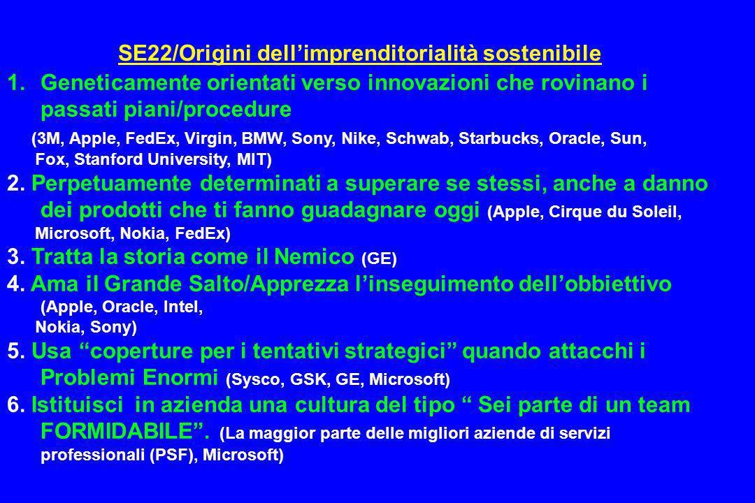 SE22/Origini dellimprenditorialità sostenibile 1.Geneticamente orientati verso innovazioni che rovinano i passati piani/procedure (3M, Apple, FedEx, V