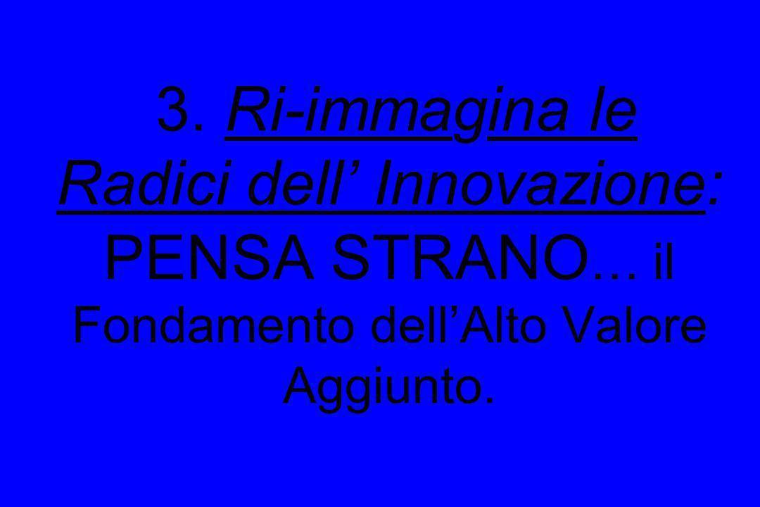 3. Ri-immagina le Radici dell Innovazione: PENSA STRANO … il Fondamento dellAlto Valore Aggiunto.