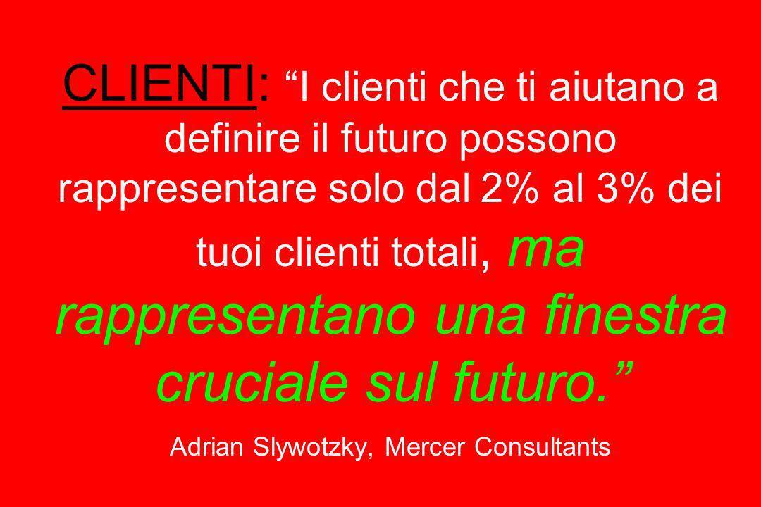 CLIENTI: I clienti che ti aiutano a definire il futuro possono rappresentare solo dal 2% al 3% dei tuoi clienti totali, ma rappresentano una finestra