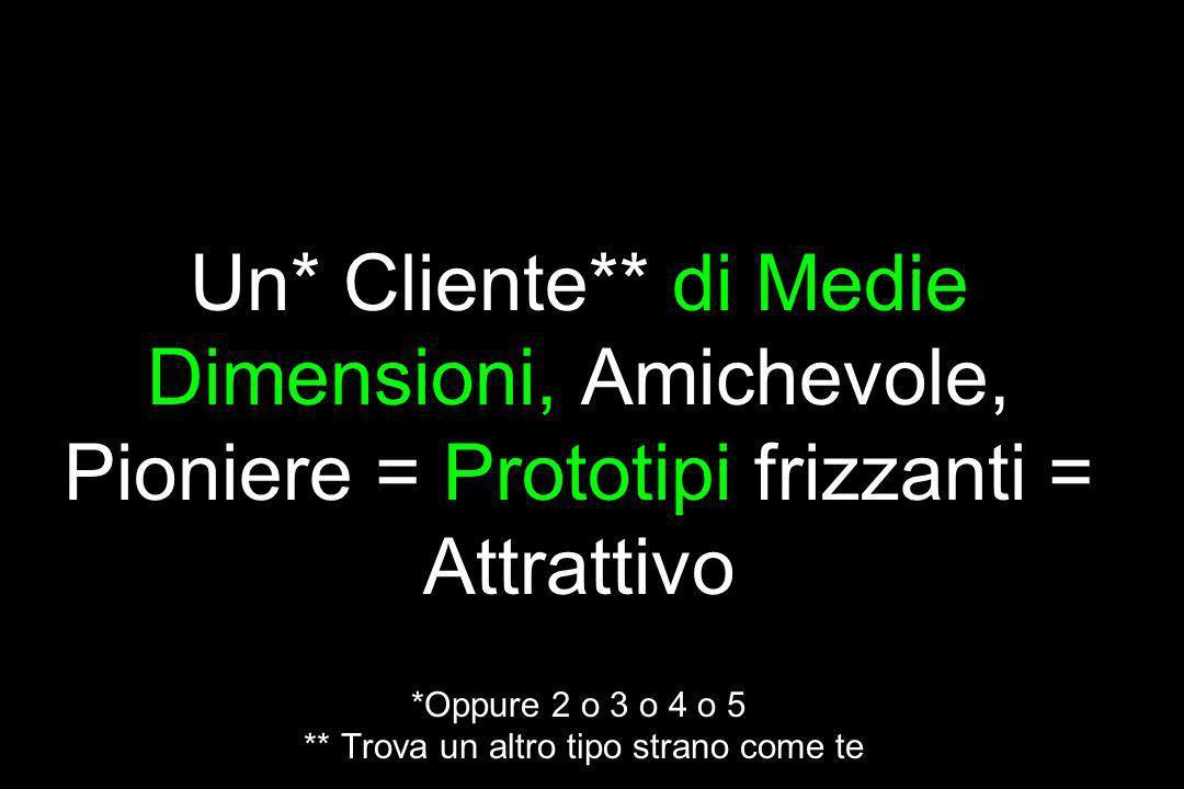 La risposta… Un* Cliente** di Medie Dimensioni, Amichevole, Pioniere = Prototipi frizzanti = Attrattivo *Oppure 2 o 3 o 4 o 5 ** Trova un altro tipo s