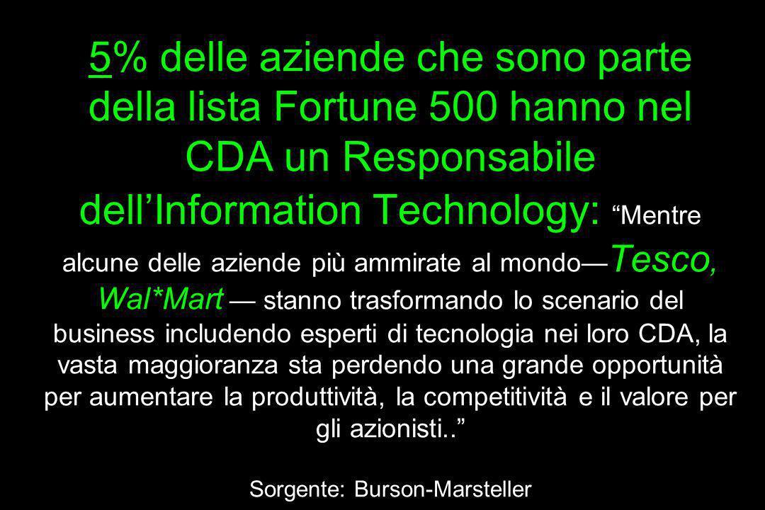5% delle aziende che sono parte della lista Fortune 500 hanno nel CDA un Responsabile dellInformation Technology: Mentre alcune delle aziende più ammi