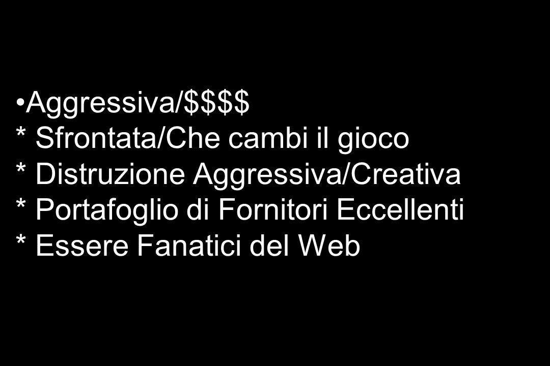 Aggressiva/$$$$ * Sfrontata/Che cambi il gioco * Distruzione Aggressiva/Creativa * Portafoglio di Fornitori Eccellenti * Essere Fanatici del Web