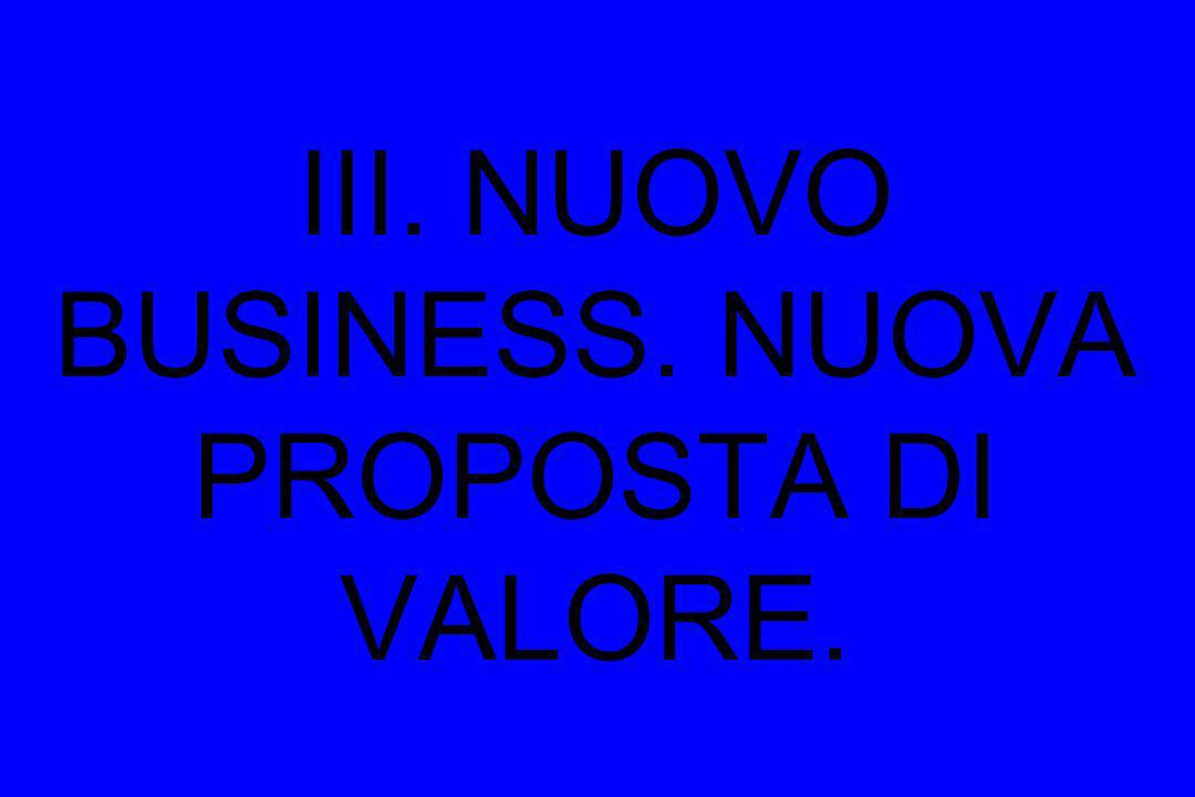 III. NUOVO BUSINESS. NUOVA PROPOSTA DI VALORE.