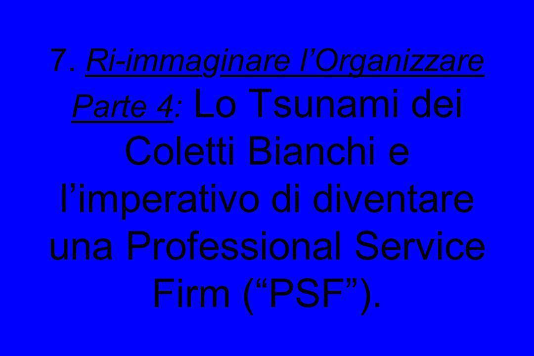 7. Ri-immaginare lOrganizzare Parte 4: Lo Tsunami dei Coletti Bianchi e limperativo di diventare una Professional Service Firm (PSF).