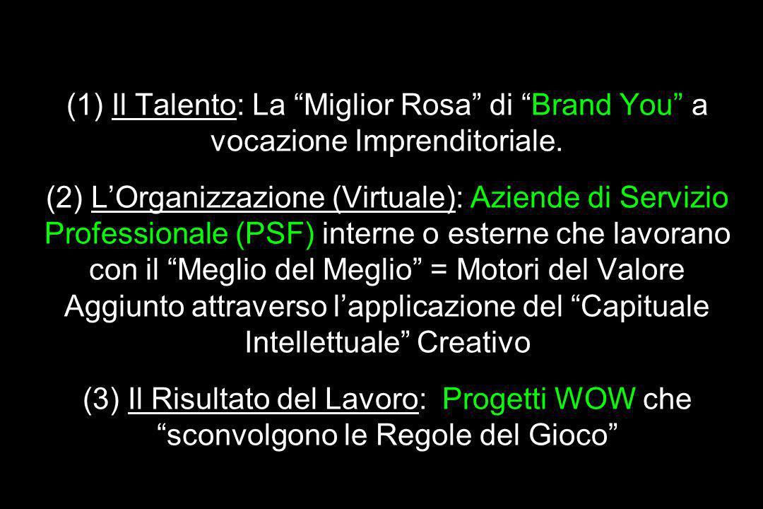 Grande Idea/Meta-Idea/ Motore Principale del Valore Aggiunto (1) Il Talento: La Miglior Rosa di Brand You a vocazione Imprenditoriale. (2) LOrganizzaz