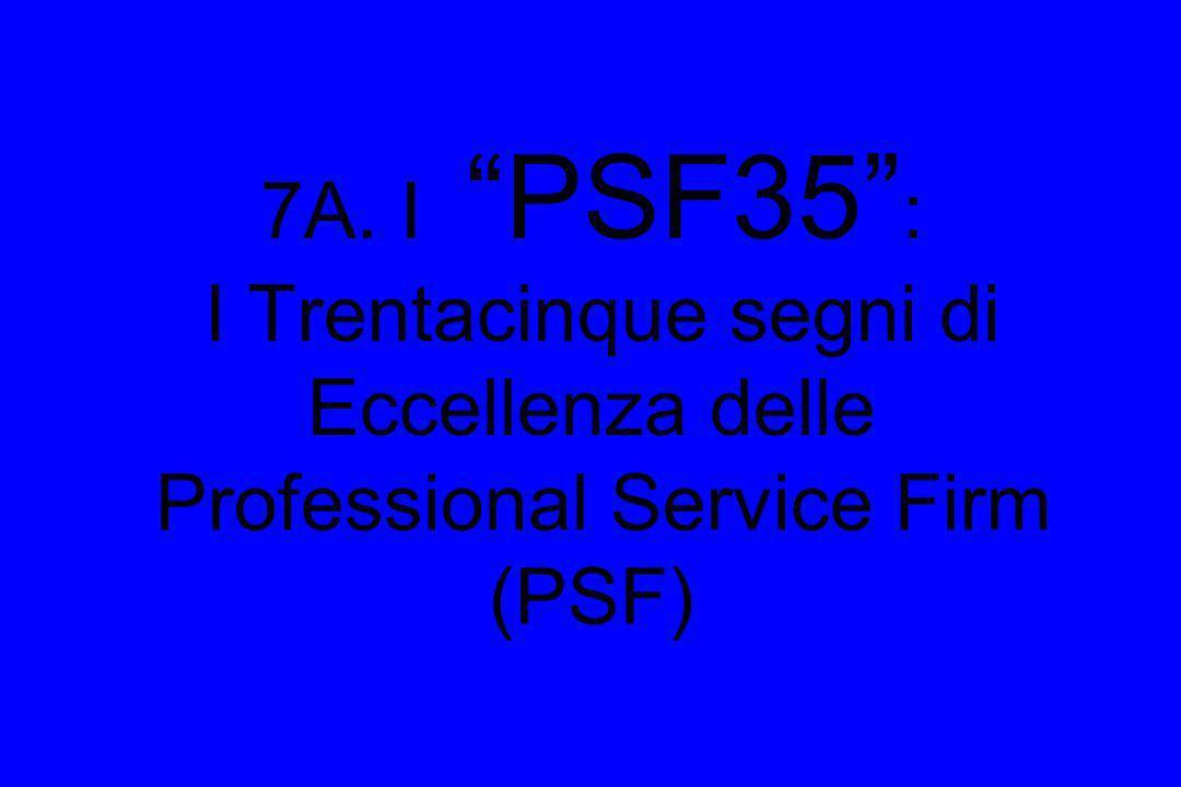 7A. I PSF35 : I Trentacinque segni di Eccellenza delle Professional Service Firm (PSF)