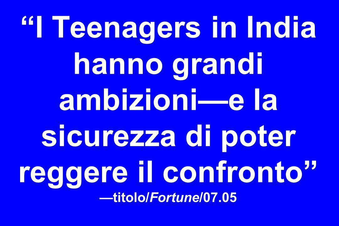 I Teenagers in India hanno grandi ambizionie la sicurezza di poter reggere il confronto titolo/Fortune/07.05