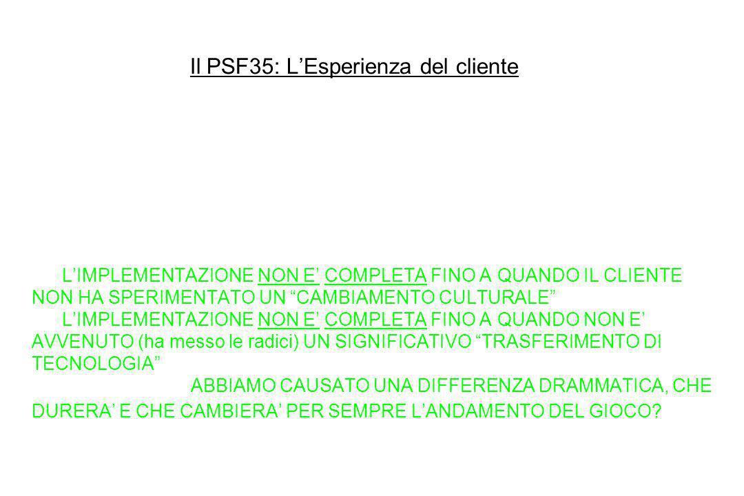 Il PSF35: LEsperienza del cliente 11. Fai sempre team con il cliente: Siamo partner nel raggiungere risultati memorabili (Si ricercano: Chimere di Men