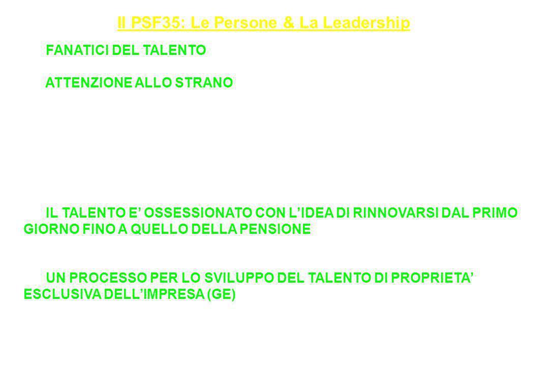 Il PSF35: Le Persone & La Leadership 18. FANATICI DEL TALENTO (Il posto Migliore-Più fantastico in cui lavorare) (PUNTO E BASTA) 19. ATTENZIONE ALLO S