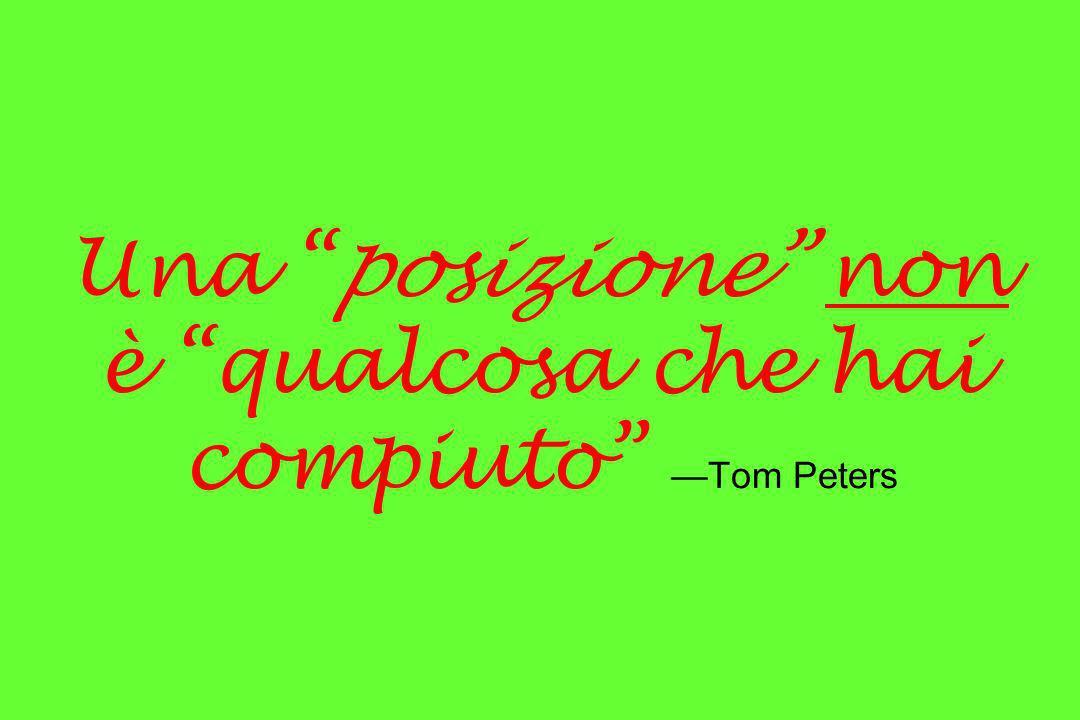 Una posizione non è qualcosa che hai compiuto Tom Peters