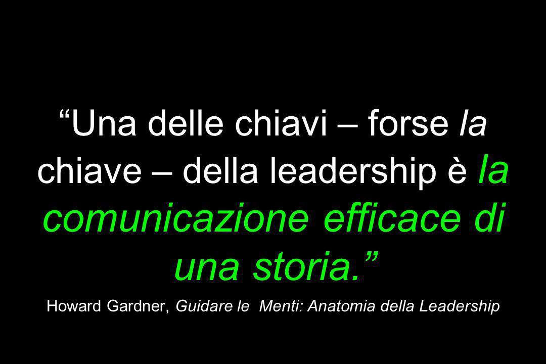 Prototipo = Storia Una delle chiavi – forse la chiave – della leadership è la comunicazione efficace di una storia. Howard Gardner, Guidare le Menti:
