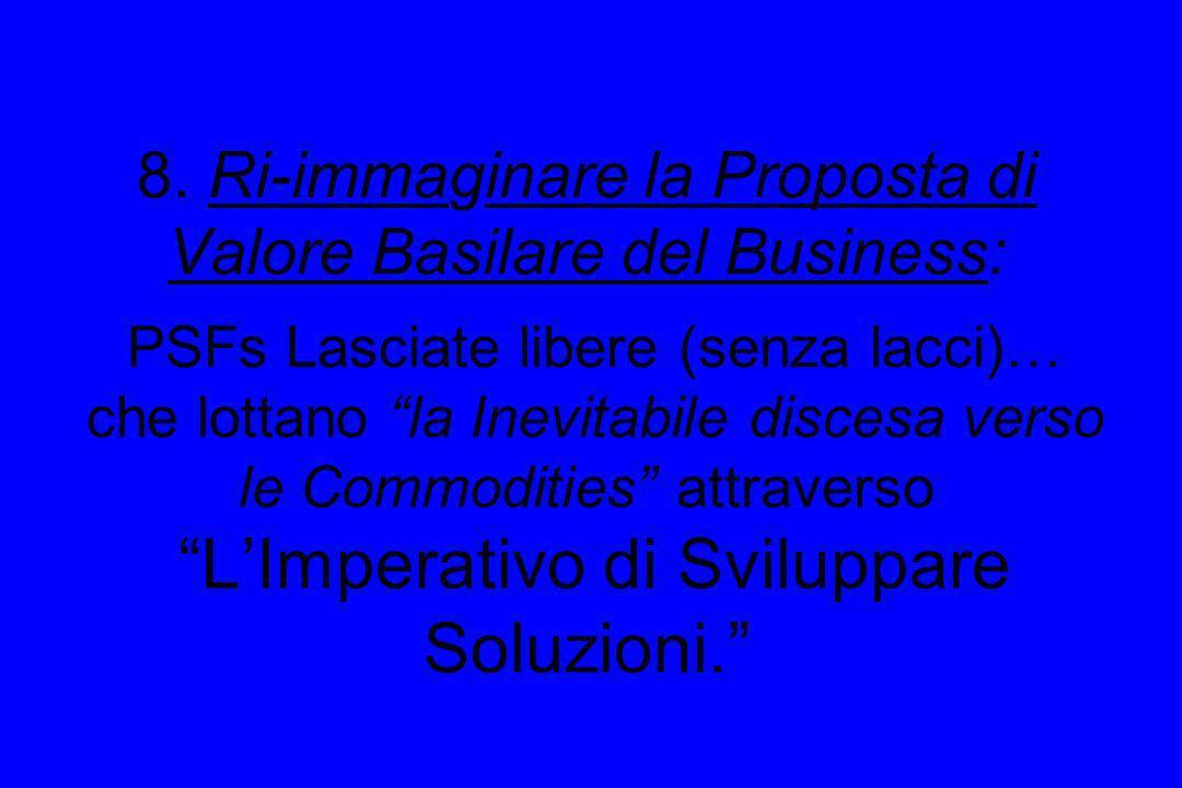 8. Ri-immaginare la Proposta di Valore Basilare del Business: PSFs Lasciate libere (senza lacci)… che lottano la Inevitabile discesa verso le Commodit