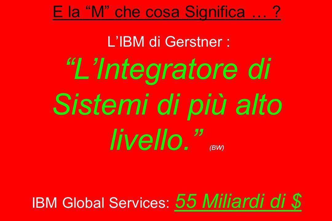 E la M che cosa Significa … ? LIBM di Gerstner : LIntegratore di Sistemi di più alto livello. (BW) IBM Global Services: 55 Miliardi di $