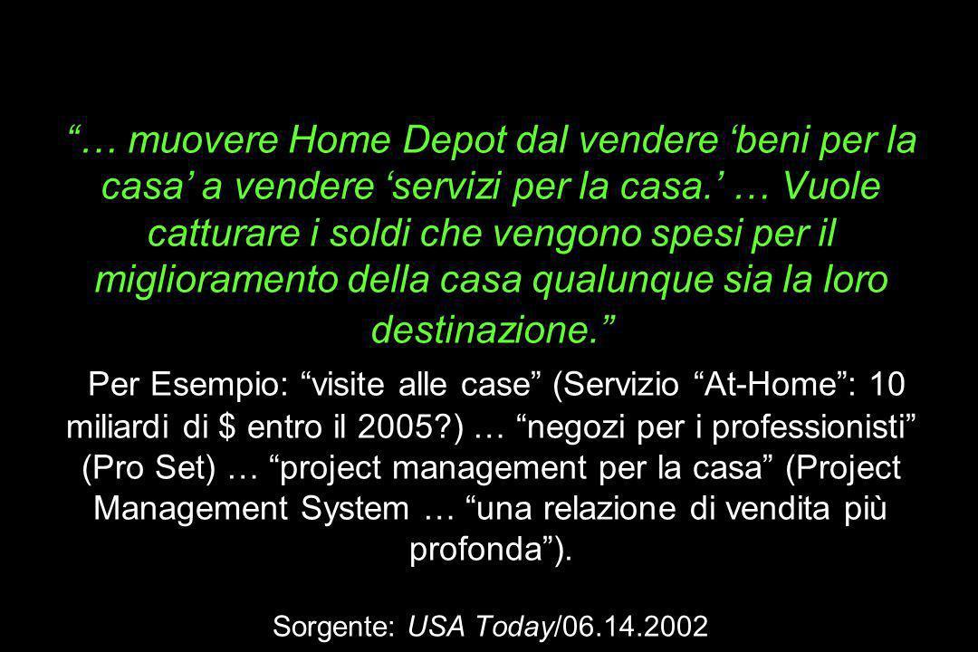 La meta di Nardelli (da 50 a 100 Miliardi di entro il 2005): … muovere Home Depot dal vendere beni per la casa a vendere servizi per la casa. … Vuole