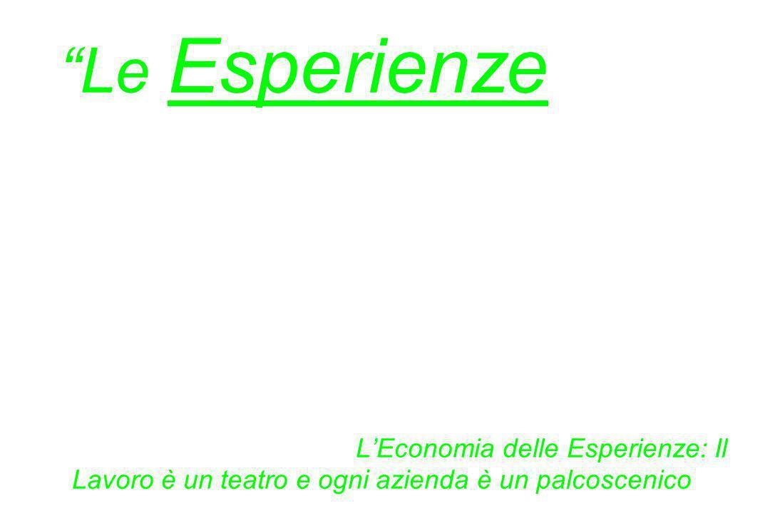 Le Esperienze sono diverse dai servizi nello stesso modo in cui i servizi sono diversi dai beni. Joseph Pine & James Gilmore, LEconomia delle Esperien