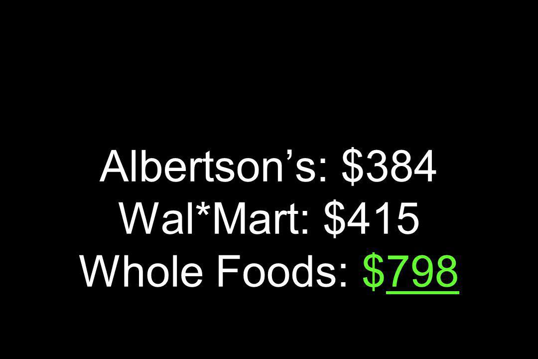 Vendite per Square Foot Generi Alimentari Albertsons: $384 Wal*Mart: $415 Whole Foods: $798