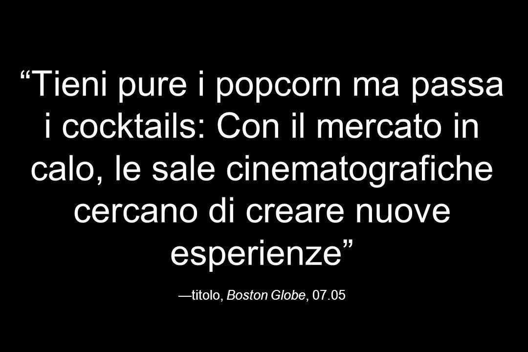 Tieni pure i popcorn ma passa i cocktails: Con il mercato in calo, le sale cinematografiche cercano di creare nuove esperienze titolo, Boston Globe, 0