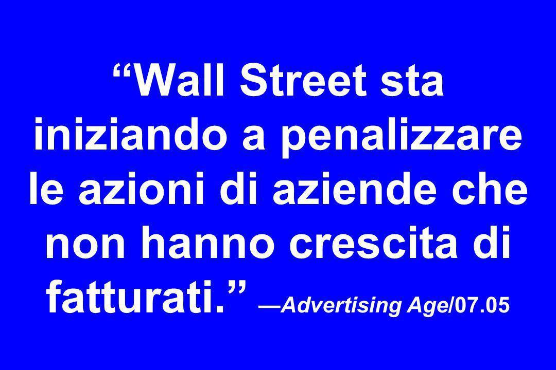 Wall Street sta iniziando a penalizzare le azioni di aziende che non hanno crescita di fatturati.Advertising Age/07.05