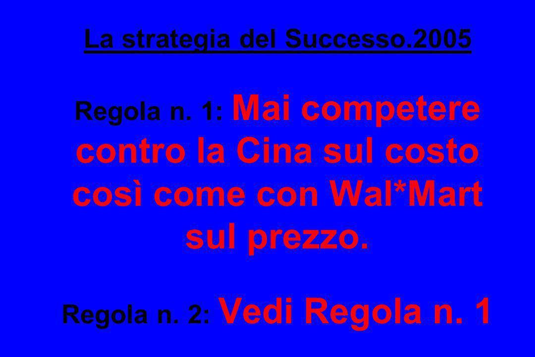 La strategia del Successo.2005 Regola n. 1: Mai competere contro la Cina sul costo così come con Wal*Mart sul prezzo. Regola n. 2: Vedi Regola n. 1