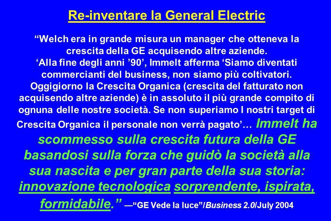 Re-inventare la General Electric Welch era in grande misura un manager che otteneva la crescita della GE acquisendo altre aziende. Alla fine degli ann