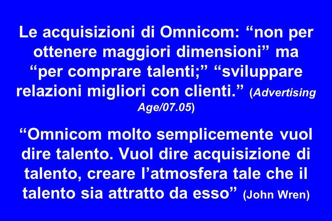 Le acquisizioni di Omnicom: non per ottenere maggiori dimensioni ma per comprare talenti; sviluppare relazioni migliori con clienti. (Advertising Age/